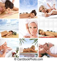 collage, sobre, salud, y, balneario