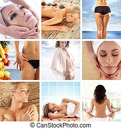 collage, sobre, salud y belleza