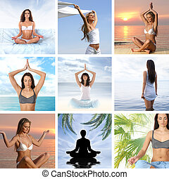 collage, sobre, salud, y, meditación