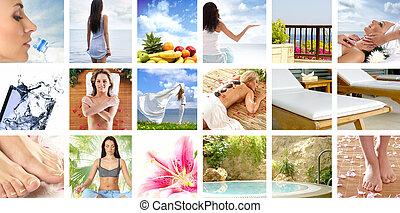 collage, sobre, salud, y, naturaleza