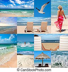 collage, sobre, vacaciones playa