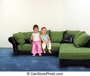 collage, sofa, kinderen