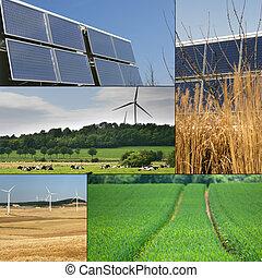 collage, sostenibile, energia