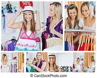 collage, sourire, achats, deux femmes