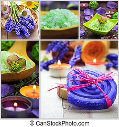 Collage Spa concept herbal soaps scented candles