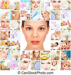 collage, spa, massage, hintergrund.