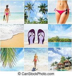 Collage: spa, massaging, resort, healthcare. Summer vacation concept collection.