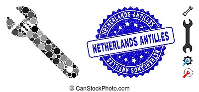 Collage Spanner Icon with Grunge Netherlands Antilles Stamp...