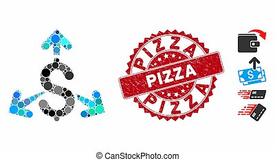 Collage Spend Money Icon with Scratched Pizza Stamp