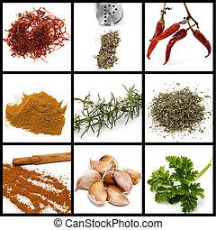 collage, spezie, condimenti