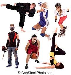 collage, sport, ludzie
