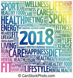 collage, sport, wort, 2018, wolke