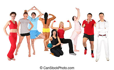collage, sporten, groep, mensen