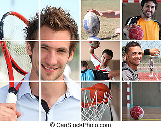 collage, sportende, themed