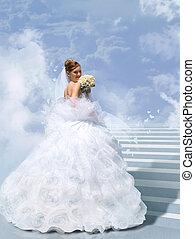 collage, sposa, nuvola, scala