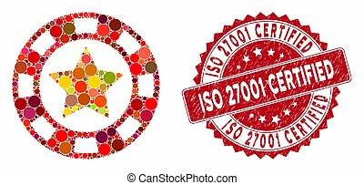 Collage Star Casino Chip with Distress ISO 27001 Certified Stamp