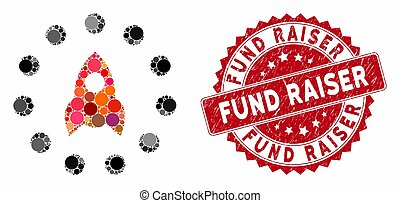 Mosaic startup and distressed stamp seal with Fund Raiser text. Mosaic vector is composed with startup icon and with random circle elements. Fund Raiser stamp seal uses red color, and grunge surface.