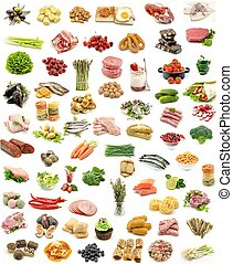Collage vertical food assortment on white background