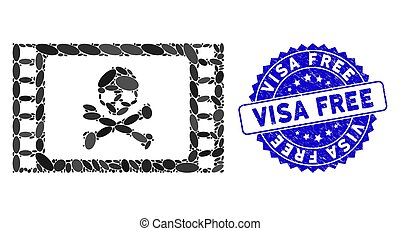 Collage Stolen Movie Icon with Distress Visa Free Seal