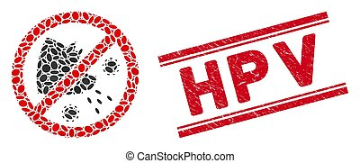 Collage Stop Swine Flu Icon with Textured Hpv Line Seal