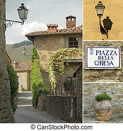 collage, strada, italiano