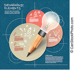 infographic with bulb pencil over hand drawn background