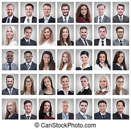 collage, succesvolle , portretten, jonge, zakenlieden