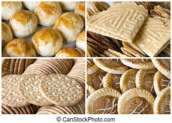 collage, sud-est, biscotti, asiatico, pasta