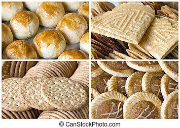 collage, sudeste, galletas, asiático, pastel