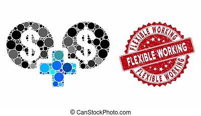 Collage Sum Money with Grunge Flexible Working Stamp