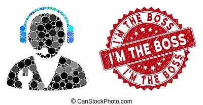 Collage Support Manager with Grunge I'M the Boss Stamp