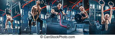 collage, sur, exercices, dans, les, fitness, gym.