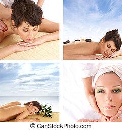 collage, sur, santé, et, spa
