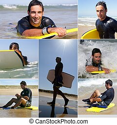 collage, Surfeo, hombre