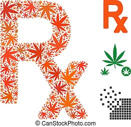 collage, symbol, recepta, marihuana