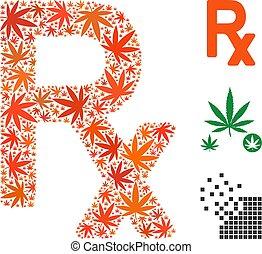 collage, symbol, verordnung, marihuana