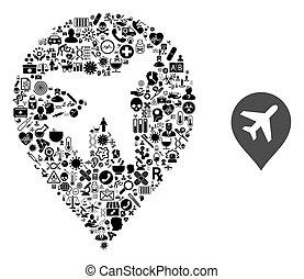 collage, symboles, avion, healthcare
