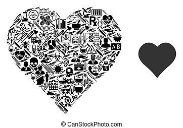 collage, symboles, coeur, healthcare