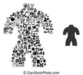 collage, symboles, healthcare, corps