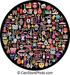 collage, sztuka, okrągły