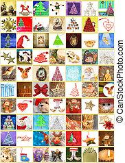 collage, tarjetas de felicitación, vertical, navidad