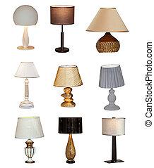 collage, tavola, differente, lampade