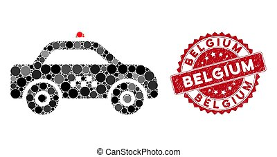 Collage Taxi Car with Scratched Belgium Stamp