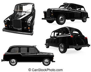 collage, taxi, noir, isolé