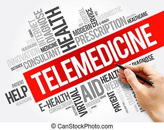 collage, telemedicine, mot, nuage