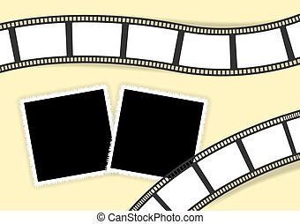 Collage template for photo classic photoframes and film stripes