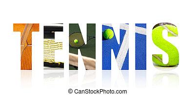 collage, tenis, biały, pojęcie