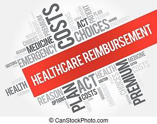 collage, terugbetaling, woord, wolk, gezondheidszorg
