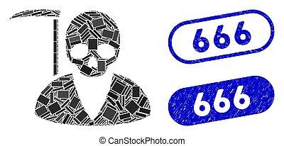 collage, textured, cachets, 666, rectangle, scytheman