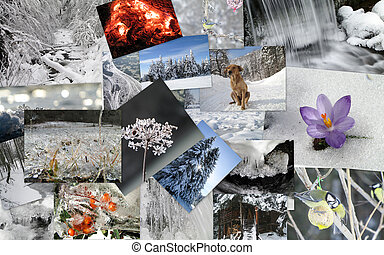 collage, thème, hiver